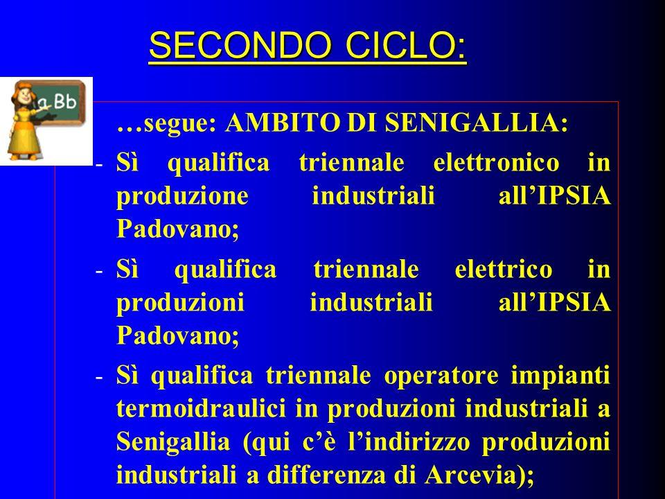 SECONDO CICLO: …segue: AMBITO DI SENIGALLIA: - Sì qualifica triennale elettronico in produzione industriali allIPSIA Padovano; - Sì qualifica triennal