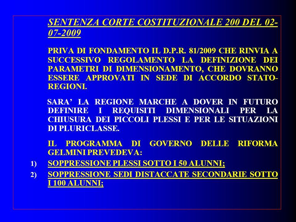 SENTENZA CORTE COSTITUZIONALE 200 DEL 02- 07-2009 PRIVA DI FONDAMENTO IL D.P.R. 81/2009 CHE RINVIA A SUCCESSIVO REGOLAMENTO LA DEFINIZIONE DEI PARAMET