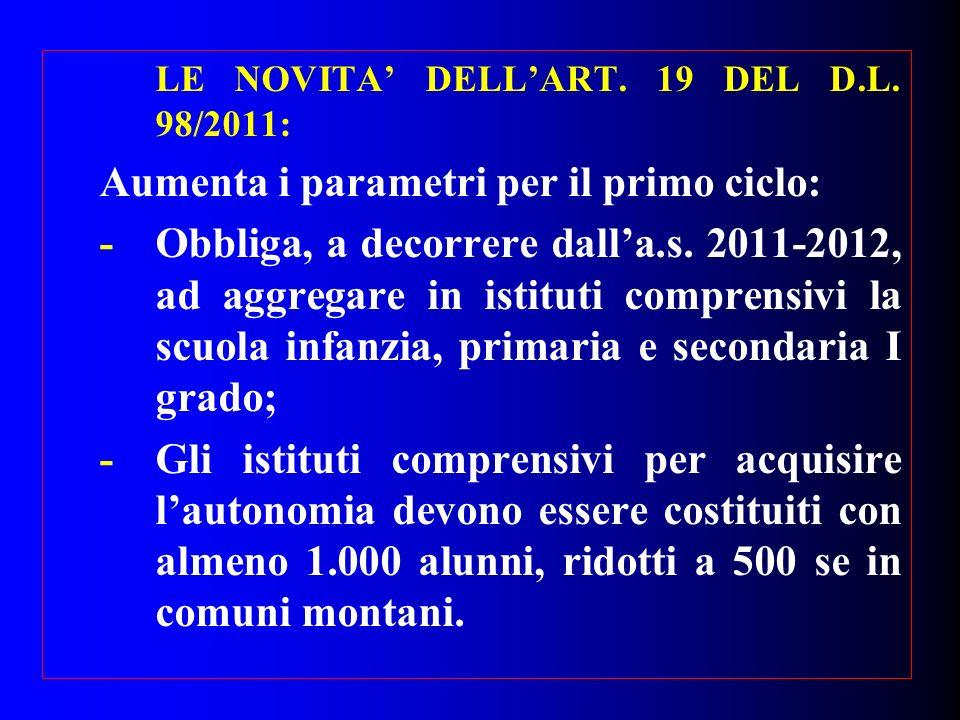 LE NOVITA DELLART. 19 DEL D.L. 98/2011: Aumenta i parametri per il primo ciclo: -Obbliga, a decorrere dalla.s. 2011-2012, ad aggregare in istituti com
