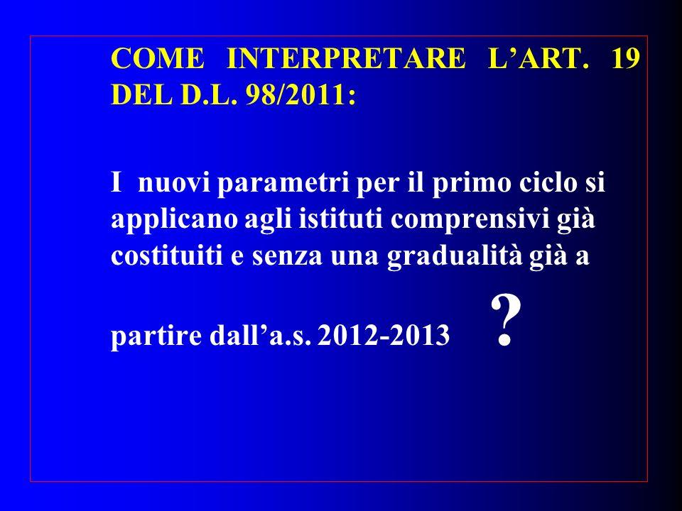 COME INTERPRETARE LART. 19 DEL D.L. 98/2011: I nuovi parametri per il primo ciclo si applicano agli istituti comprensivi già costituiti e senza una gr