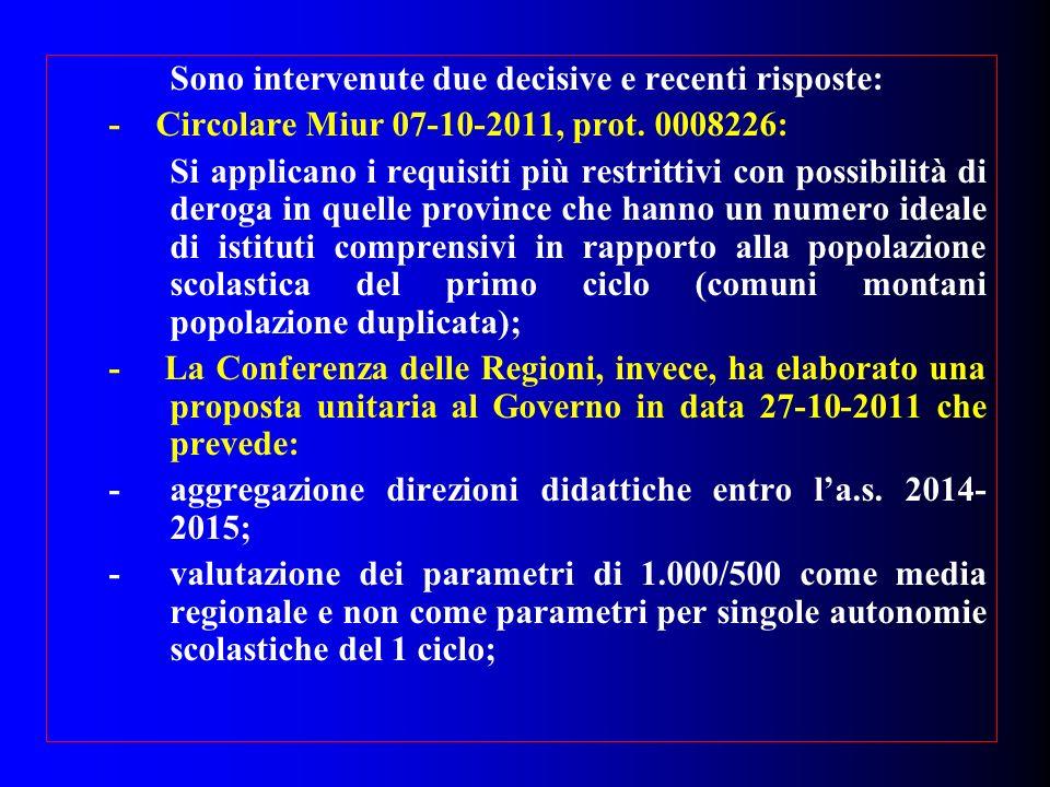 Sono intervenute due decisive e recenti risposte: - Circolare Miur 07-10-2011, prot. 0008226: Si applicano i requisiti più restrittivi con possibilità