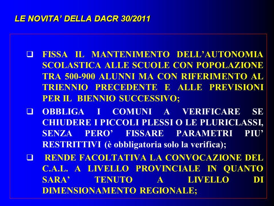 LE NOVITA DELLA DACR 30/2011 FISSA IL MANTENIMENTO DELLAUTONOMIA SCOLASTICA ALLE SCUOLE CON POPOLAZIONE TRA 500-900 ALUNNI MA CON RIFERIMENTO AL TRIEN