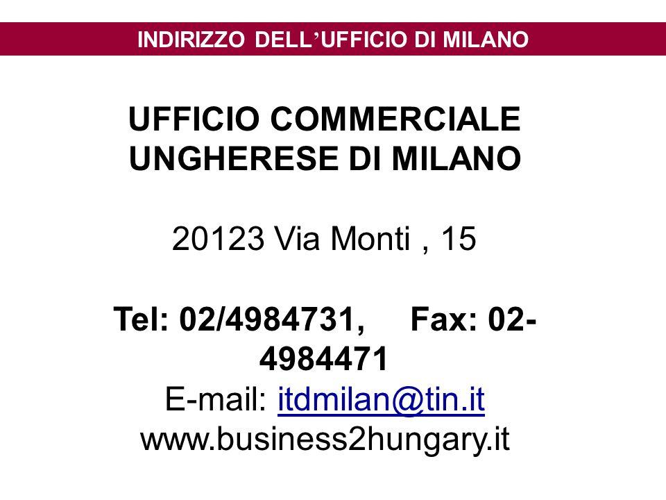 INDIRIZZO DELL UFFICIO DI MILANO UFFICIO COMMERCIALE UNGHERESE DI MILANO 20123 Via Monti, 15 Tel: 02/4984731, Fax: 02- 4984471 E-mail: itdmilan@tin.it