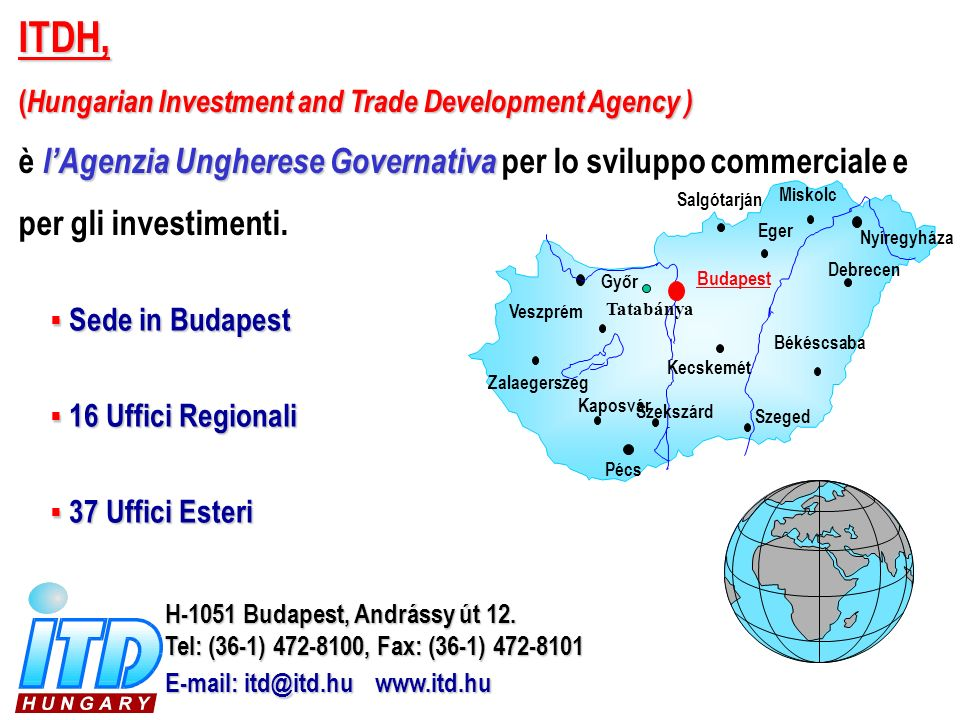 ITDH, ( Hungarian Investment and Trade Development Agency ) lAgenzia Ungherese Governativa è lAgenzia Ungherese Governativa per lo sviluppo commercial