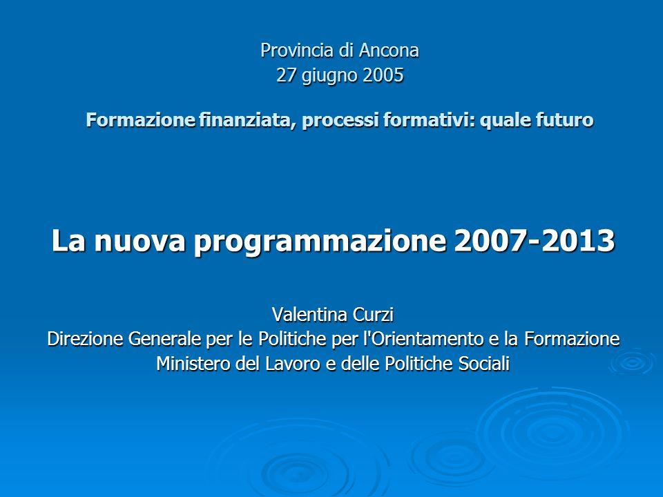 Programma integrato per loccupazione e la solidarietà sociale (PROGRESS) (II) Struttura del programma in 5 sezioni: 1) Occupazione: implementazione SEO (21% dei fondi) 2) Protezione ed inclusione sociale: implementazione del Metodo di Coordinamento Aperto nei settori dellinclusione e della protezione sociale (28% dei fondi) 3) Condizioni di lavoro: miglioramento dellambiente e delle condizioni di lavoro (8% dei fondi) 4) Lotta alla discriminazione e valorizzazione delle differenze: applicazione del principio di non discriminazione come elemento fondante delle politiche UE (23% dei fondi) 5) Uguaglianza di genere: implementazione del principio di parità ed integrazione della dimensione di genere nelle politiche UE (8% dei fondi)