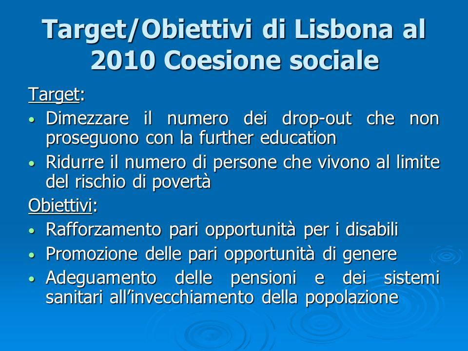 Target/Obiettivi di Lisbona al 2010 Coesione sociale Target: Dimezzare il numero dei drop-out che non proseguono con la further education Dimezzare il