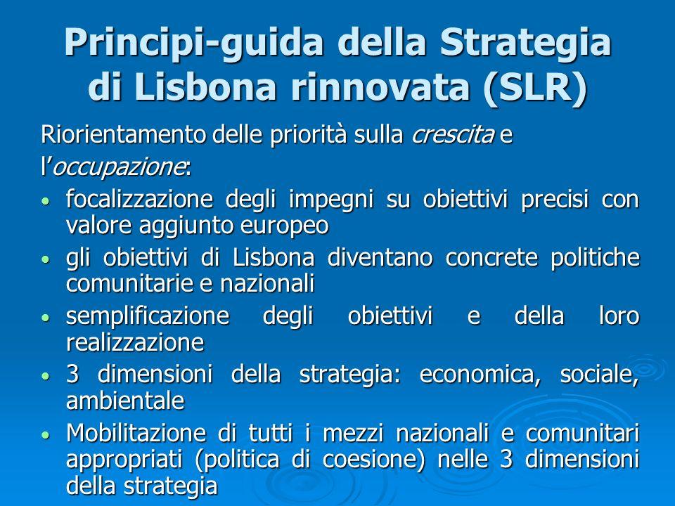 Principi-guida della Strategia di Lisbona rinnovata (SLR) Riorientamento delle priorità sulla crescita e loccupazione: focalizzazione degli impegni su