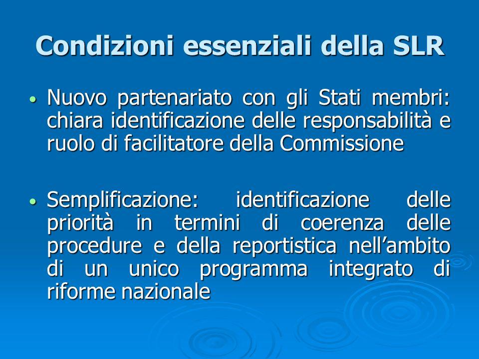 Condizioni essenziali della SLR Nuovo partenariato con gli Stati membri: chiara identificazione delle responsabilità e ruolo di facilitatore della Com
