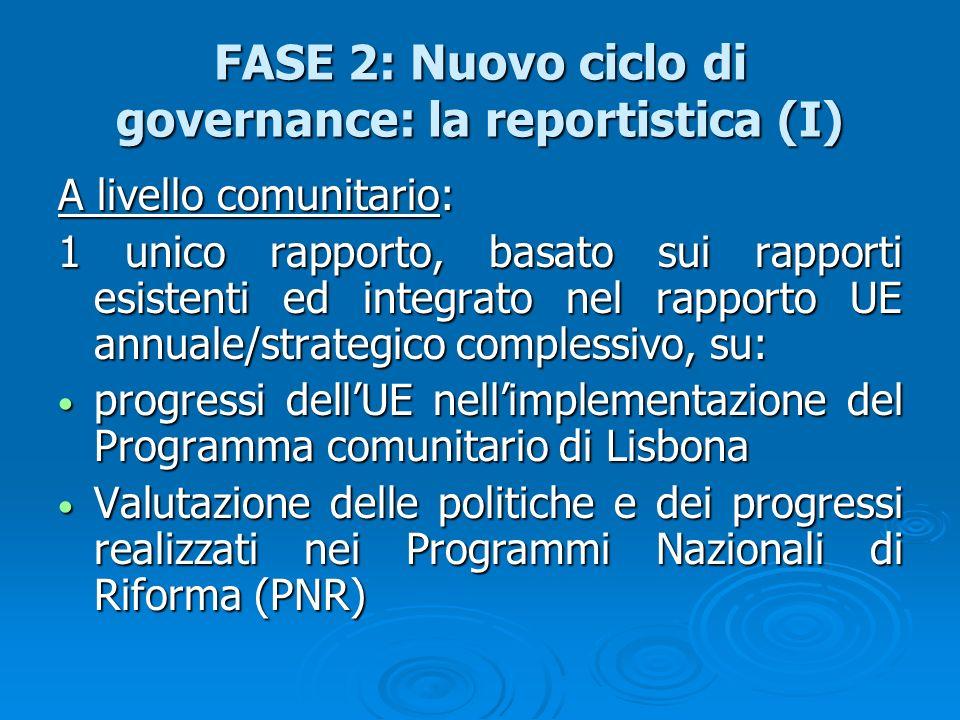 FASE 2: Nuovo ciclo di governance: la reportistica (I) A livello comunitario: 1 unico rapporto, basato sui rapporti esistenti ed integrato nel rapport