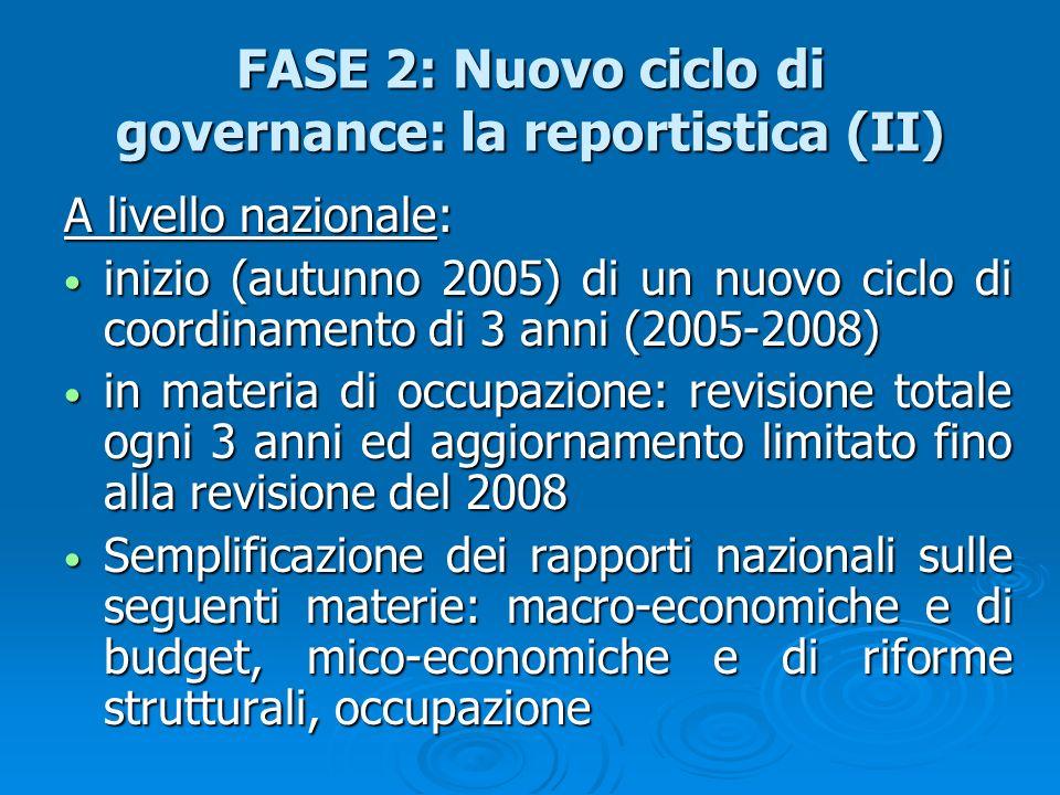 FASE 2: Nuovo ciclo di governance: la reportistica (II) A livello nazionale: inizio (autunno 2005) di un nuovo ciclo di coordinamento di 3 anni (2005-