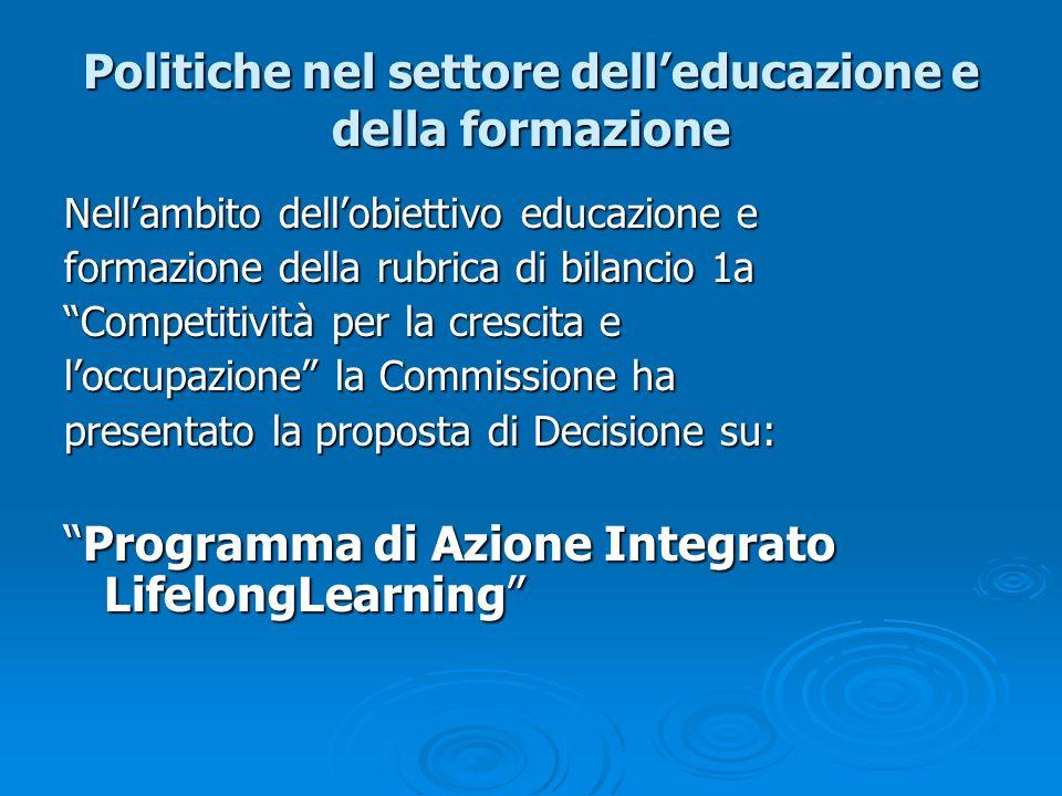 Politiche nel settore delleducazione e della formazione Nellambito dellobiettivo educazione e formazione della rubrica di bilancio 1a Competitività pe