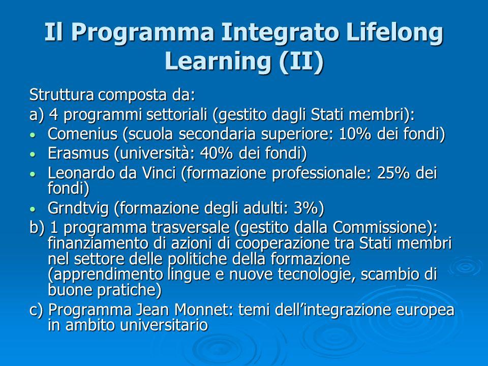 Il Programma Integrato Lifelong Learning (II) Struttura composta da: a) 4 programmi settoriali (gestito dagli Stati membri): Comenius (scuola secondar