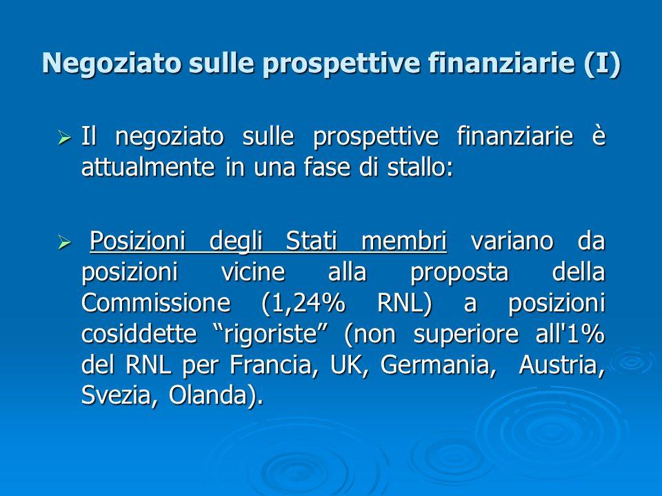 Negoziato sulle prospettive finanziarie (I) Il negoziato sulle prospettive finanziarie è attualmente in una fase di stallo: Il negoziato sulle prospet