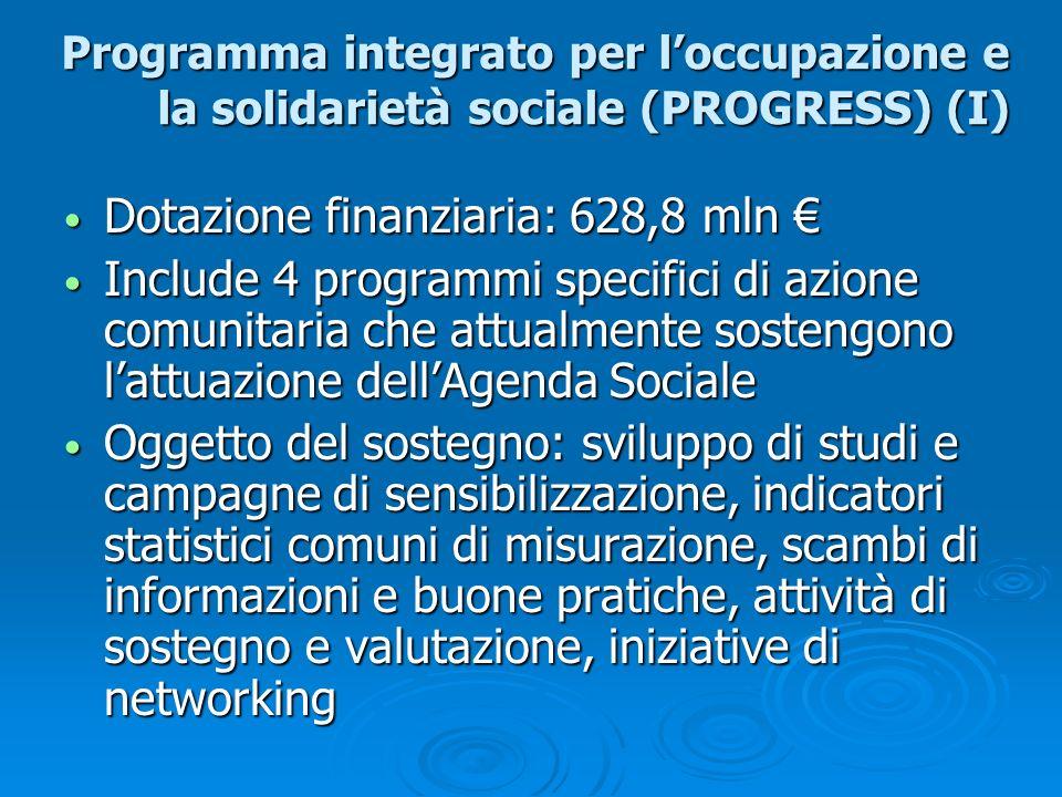Programma integrato per loccupazione e la solidarietà sociale (PROGRESS) (I) Dotazione finanziaria: 628,8 mln Dotazione finanziaria: 628,8 mln Include