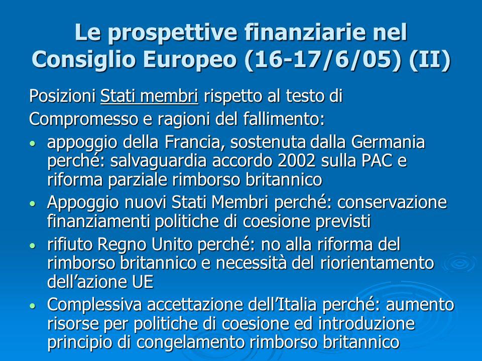 Le prospettive finanziarie nel Consiglio Europeo (16-17/6/05) (II) Posizioni Stati membri rispetto al testo di Compromesso e ragioni del fallimento: a