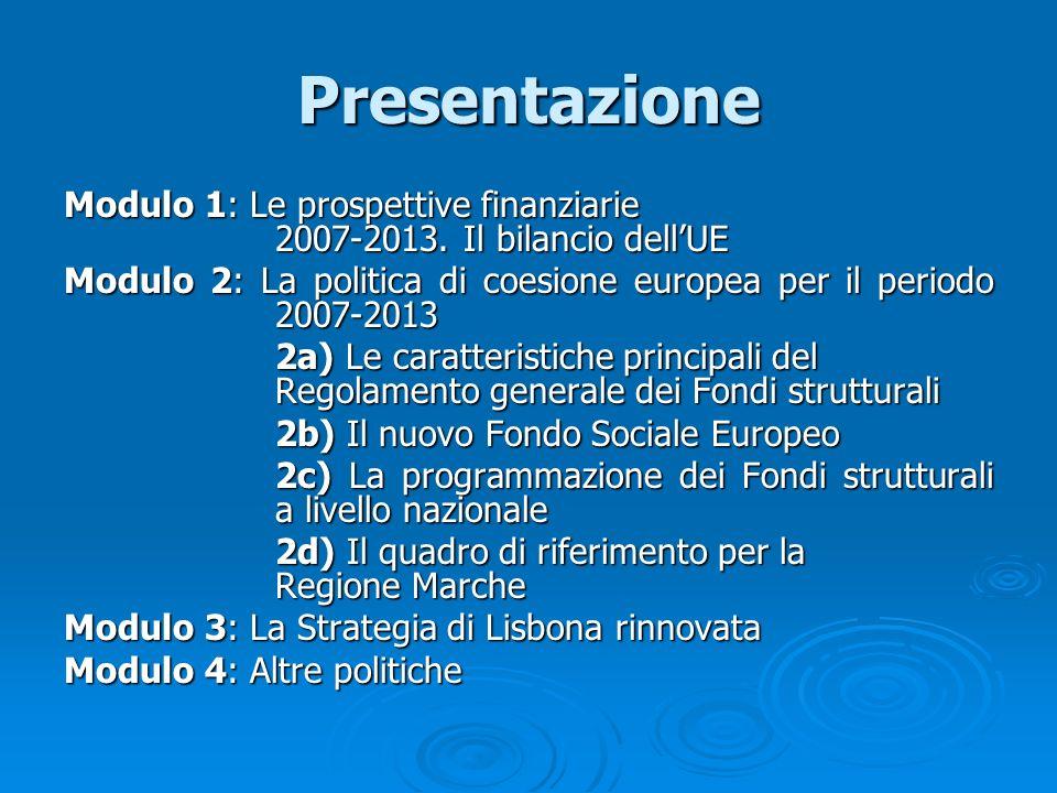 Concentrazione finanziaria Obiettivi Ripartizione risorse (proposta Commissione) Ripartizione risorse (Negotiating BOX 15/6/05) Convergenza78,54% 264 mld 264 mld 82,30% 252,249 mld 252,249 mld Competitività regionale ed occupazione 17,22% 57,9 mld 57,9 mld 15,26% 46,758 mld 46,758 mld Cooperazione territoriale europea 3,94% 13,2 mld 13,2 mld 2,45% 7,500 mld 7,500 mld Totale risorse 335,1 mld 335,1 mld (pari a 1,24% RNL) 306,507 mld 306,507 mld (pari a 1% RNL)