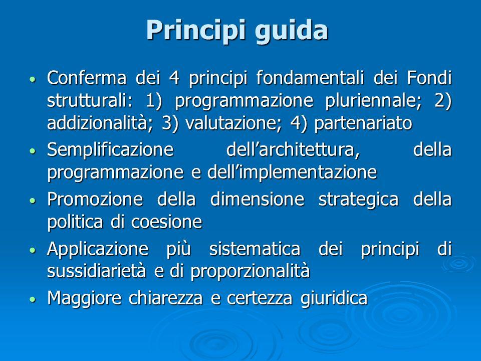 Principi guida Conferma dei 4 principi fondamentali dei Fondi strutturali: 1) programmazione pluriennale; 2) addizionalità; 3) valutazione; 4) partena