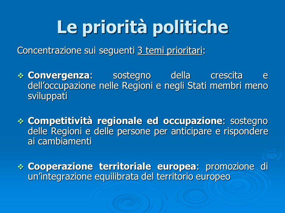 Le priorità politiche Concentrazione sui seguenti 3 temi prioritari: Convergenza: sostegno della crescita e delloccupazione nelle Regioni e negli Stat