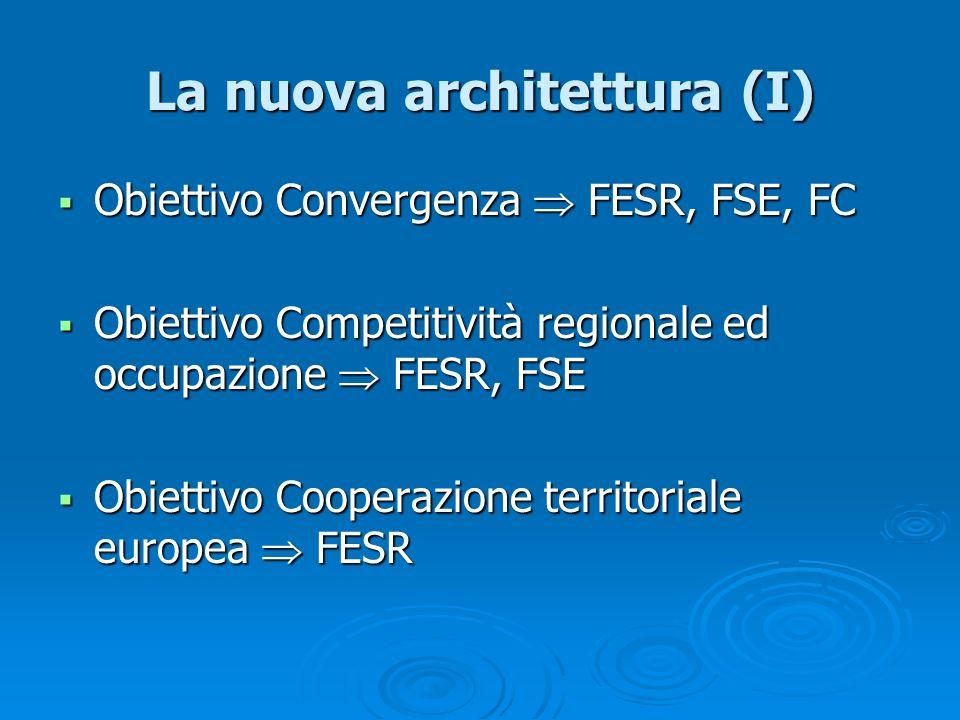 La nuova architettura (I) Obiettivo Convergenza FESR, FSE, FC Obiettivo Convergenza FESR, FSE, FC Obiettivo Competitività regionale ed occupazione FES