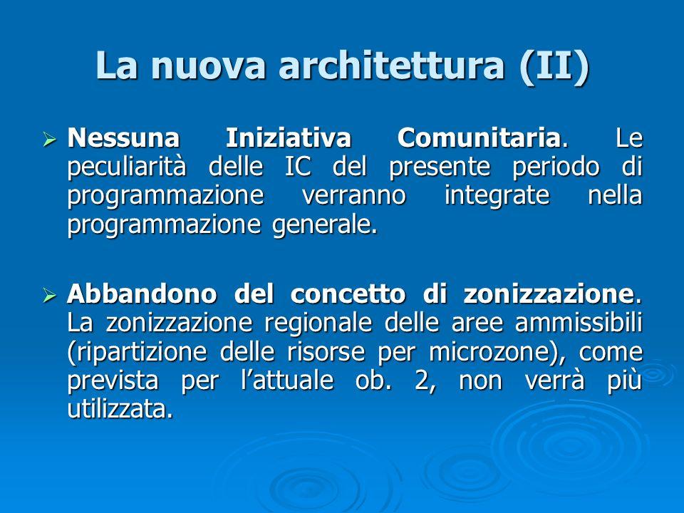 La nuova architettura (II) Nessuna Iniziativa Comunitaria. Le peculiarità delle IC del presente periodo di programmazione verranno integrate nella pro