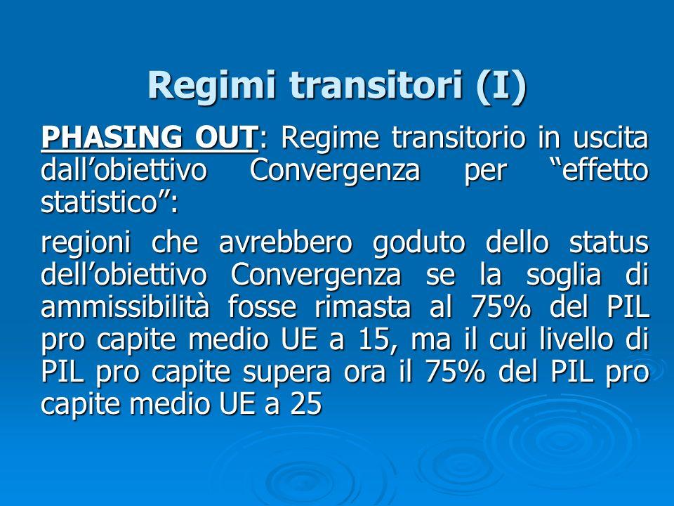 Regimi transitori (I) PHASING OUT: Regime transitorio in uscita dallobiettivo Convergenza per effetto statistico: regioni che avrebbero goduto dello s