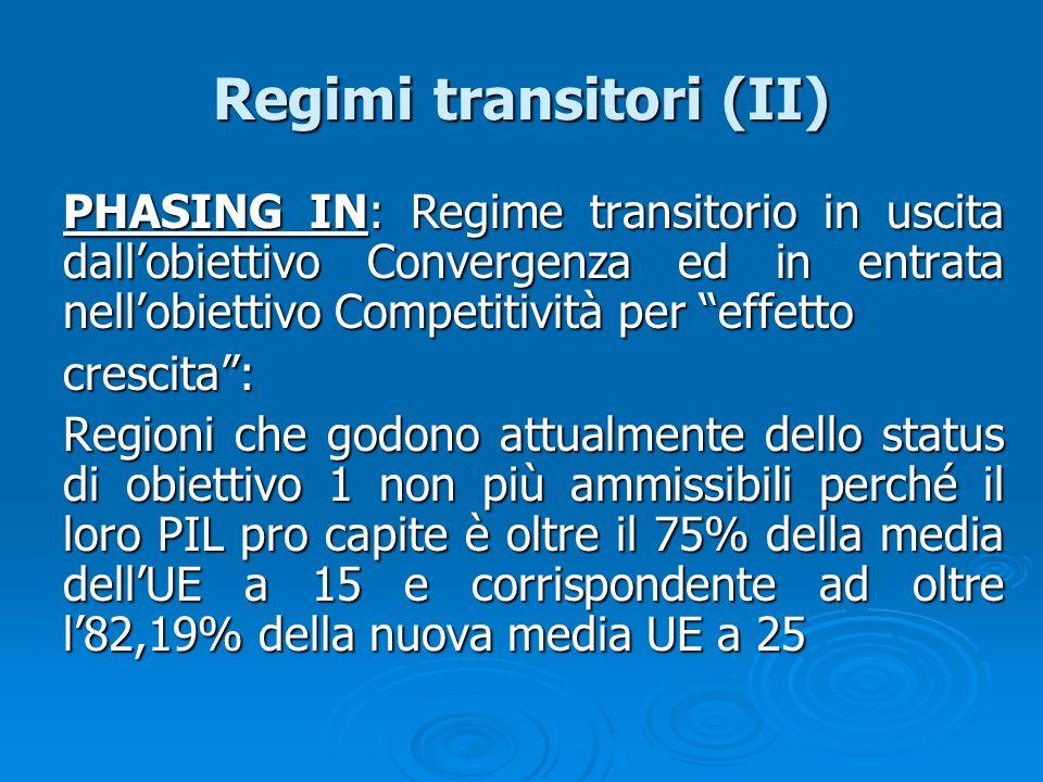 Regimi transitori (II) PHASING IN: Regime transitorio in uscita dallobiettivo Convergenza ed in entrata nellobiettivo Competitività per effetto cresci