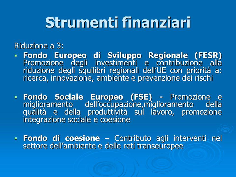 Strumenti finanziari Riduzione a 3: Fondo Europeo di Sviluppo Regionale (FESR) Promozione degli investimenti e contribuzione alla riduzione degli squi