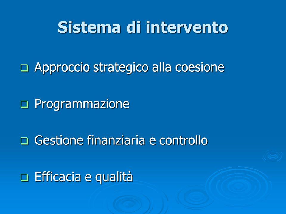 Sistema di intervento Approccio strategico alla coesione Approccio strategico alla coesione Programmazione Programmazione Gestione finanziaria e contr