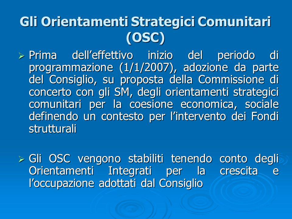 Gli Orientamenti Strategici Comunitari (OSC) Prima delleffettivo inizio del periodo di programmazione (1/1/2007), adozione da parte del Consiglio, su