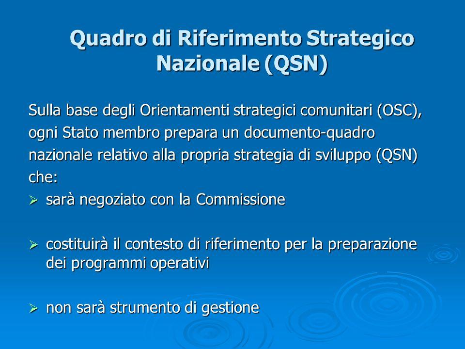 Quadro di Riferimento Strategico Nazionale (QSN) Sulla base degli Orientamenti strategici comunitari (OSC), ogni Stato membro prepara un documento-qua