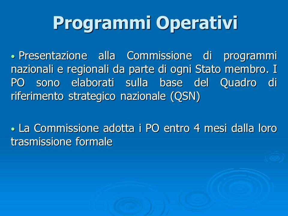 Programmi Operativi Programmi Operativi Presentazione alla Commissione di programmi nazionali e regionali da parte di ogni Stato membro. I PO sono ela