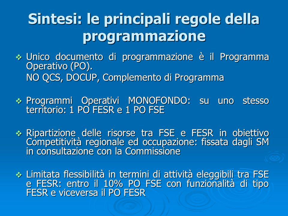 Sintesi: le principali regole della programmazione Unico documento di programmazione è il Programma Operativo (PO). Unico documento di programmazione