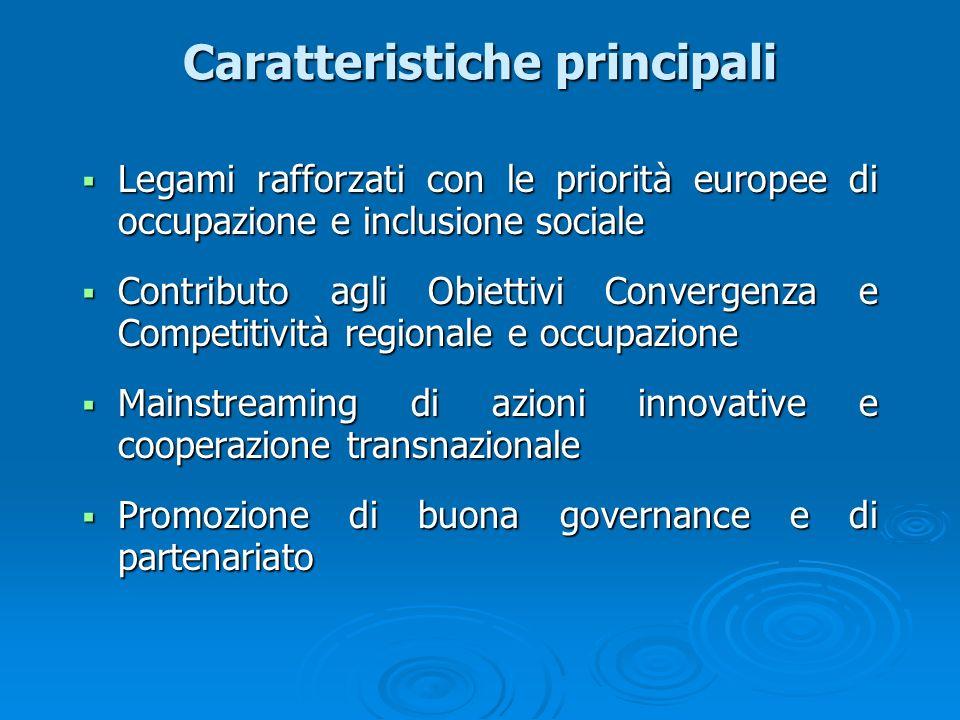 Caratteristiche principali Legami rafforzati con le priorità europee di occupazione e inclusione sociale Legami rafforzati con le priorità europee di