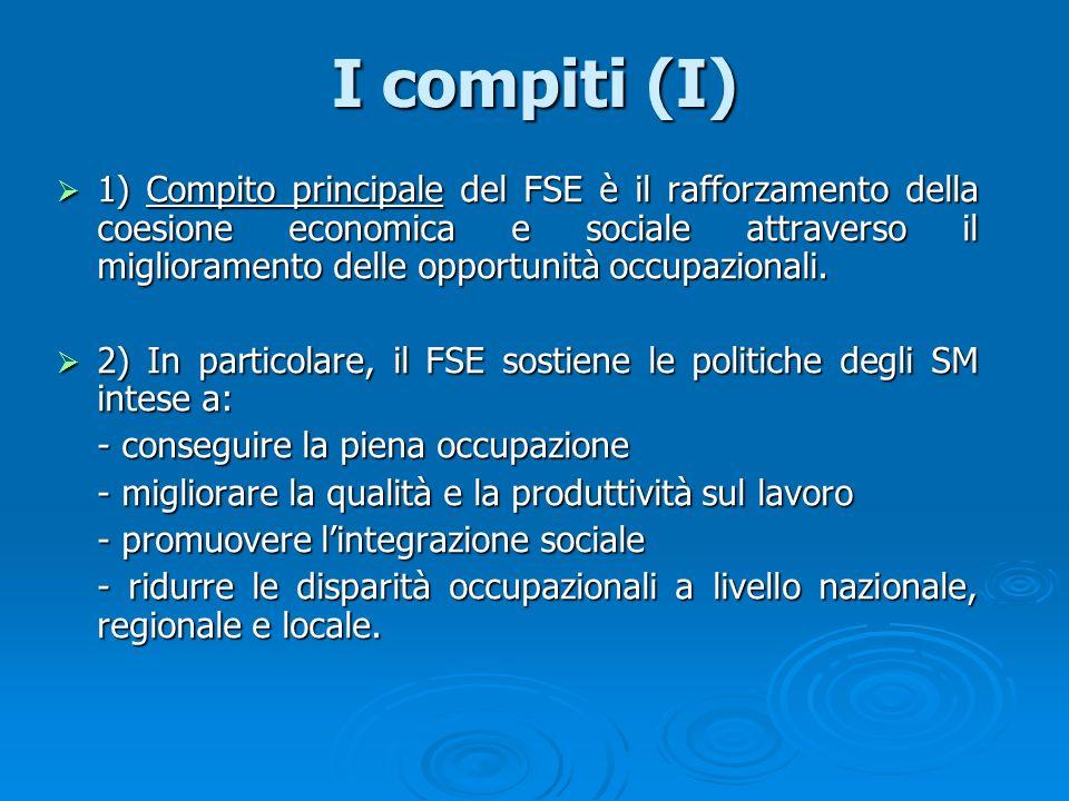 I compiti (I) 1) Compito principale del FSE è il rafforzamento della coesione economica e sociale attraverso il miglioramento delle opportunità occupa