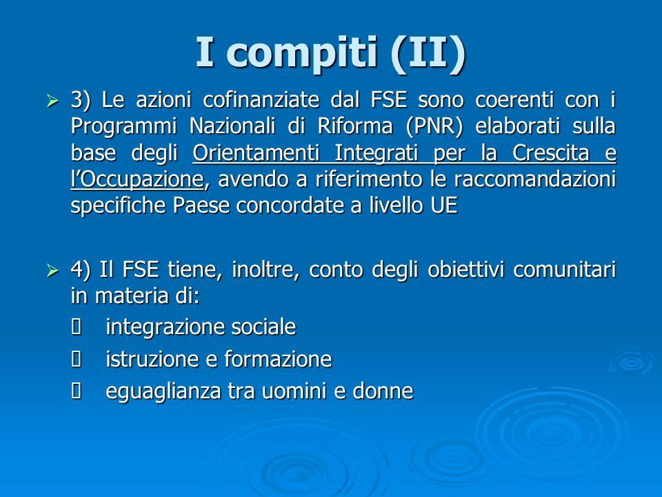I compiti (II) 3) Le azioni cofinanziate dal FSE sono coerenti con i Programmi Nazionali di Riforma (PNR) elaborati sulla base degli Orientamenti Inte