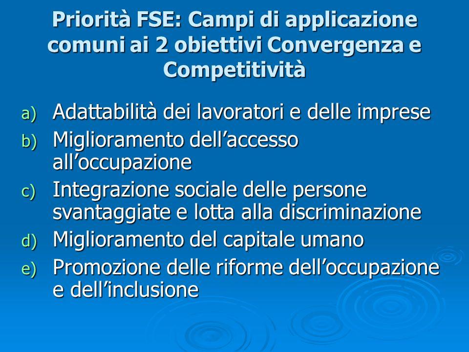 Priorità FSE: Campi di applicazione comuni ai 2 obiettivi Convergenza e Competitività a) Adattabilità dei lavoratori e delle imprese b) Miglioramento