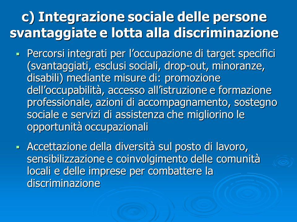 Percorsi integrati per loccupazione di target specifici (svantaggiati, esclusi sociali, drop-out, minoranze, disabili) mediante misure di: promozione