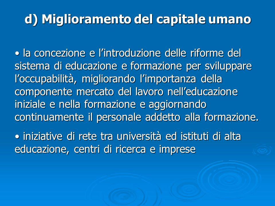 d) Miglioramento del capitale umano la concezione e lintroduzione delle riforme del sistema di educazione e formazione per sviluppare loccupabilità, m