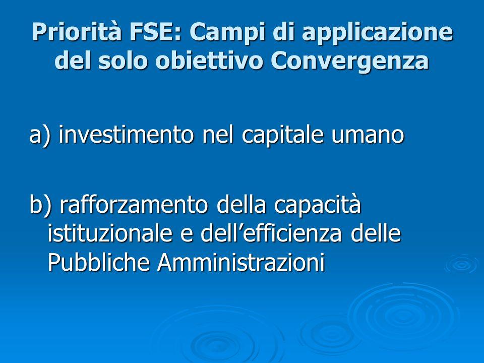 Priorità FSE: Campi di applicazione del solo obiettivo Convergenza a) investimento nel capitale umano b) rafforzamento della capacità istituzionale e