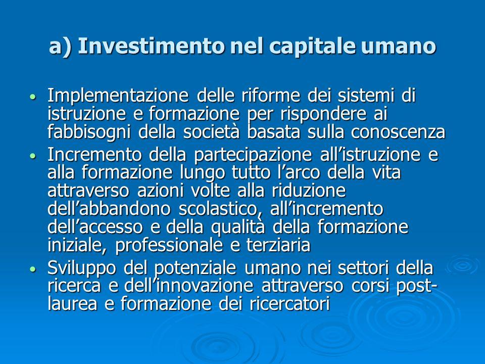 a) Investimento nel capitale umano Implementazione delle riforme dei sistemi di istruzione e formazione per rispondere ai fabbisogni della società bas