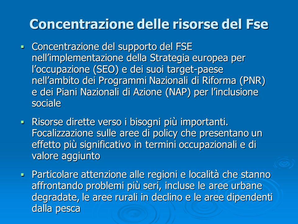 Concentrazione delle risorse del Fse Concentrazione del supporto del FSE nellimplementazione della Strategia europea per loccupazione (SEO) e dei suoi