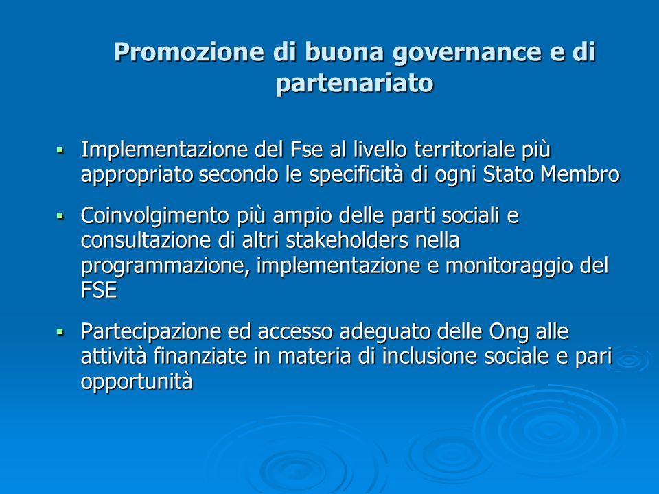 Promozione di buona governance e di partenariato Implementazione del Fse al livello territoriale più appropriato secondo le specificità di ogni Stato