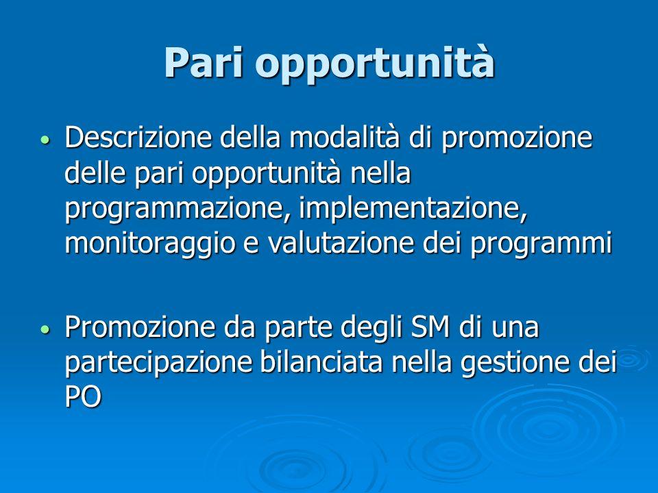 Pari opportunità Descrizione della modalità di promozione delle pari opportunità nella programmazione, implementazione, monitoraggio e valutazione dei