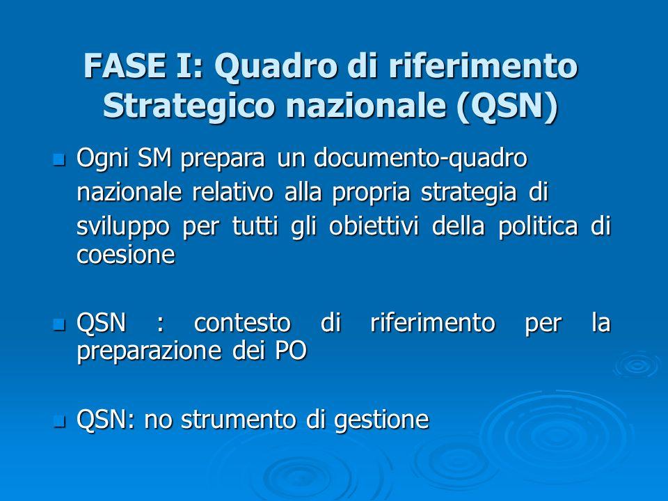 FASE I: Quadro di riferimento Strategico nazionale (QSN) Ogni SM prepara un documento-quadro Ogni SM prepara un documento-quadro nazionale relativo al