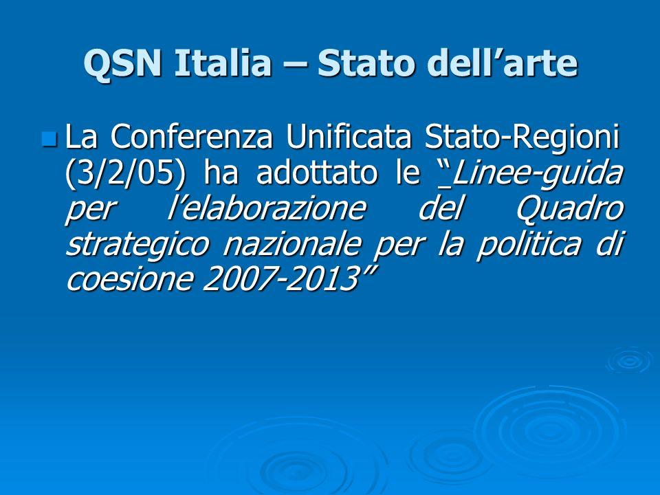 QSN Italia – Stato dellarte La Conferenza Unificata Stato-Regioni (3/2/05) ha adottato le Linee-guida per lelaborazione del Quadro strategico nazional