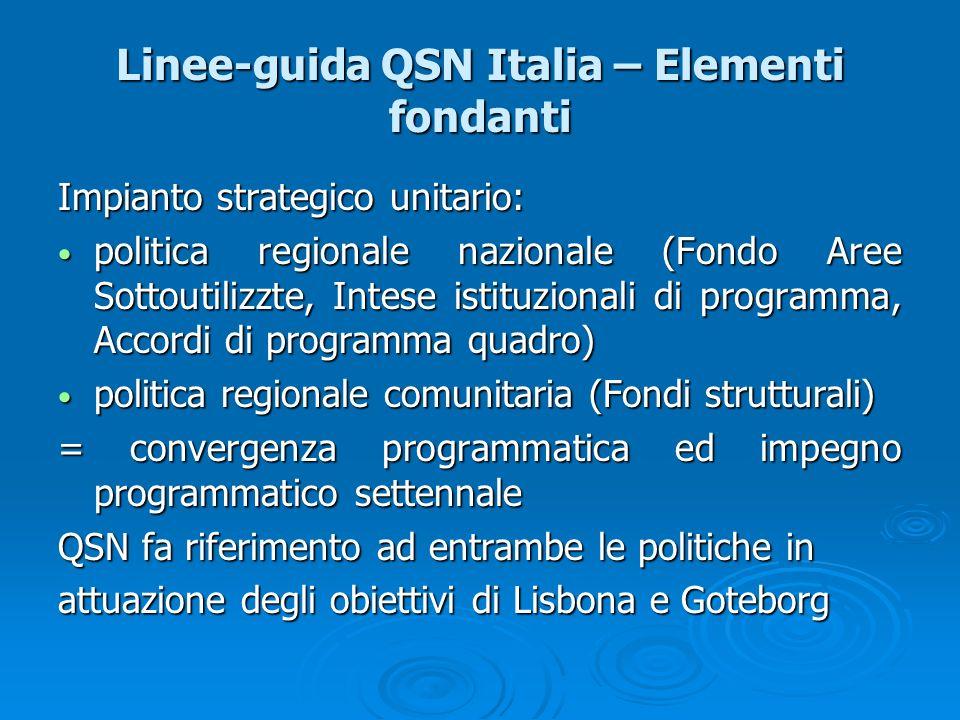 Linee-guida QSN Italia – Elementi fondanti Impianto strategico unitario: politica regionale nazionale (Fondo Aree Sottoutilizzte, Intese istituzionali