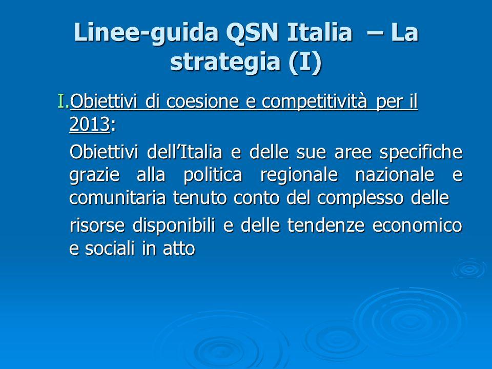Linee-guida QSN Italia – La strategia (I) I.Obiettivi di coesione e competitività per il 2013: Obiettivi dellItalia e delle sue aree specifiche grazie