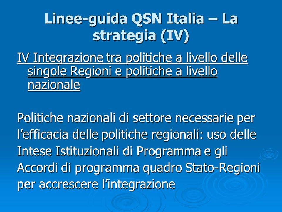 Linee-guida QSN Italia – La strategia (IV) IV Integrazione tra politiche a livello delle singole Regioni e politiche a livello nazionale Politiche naz