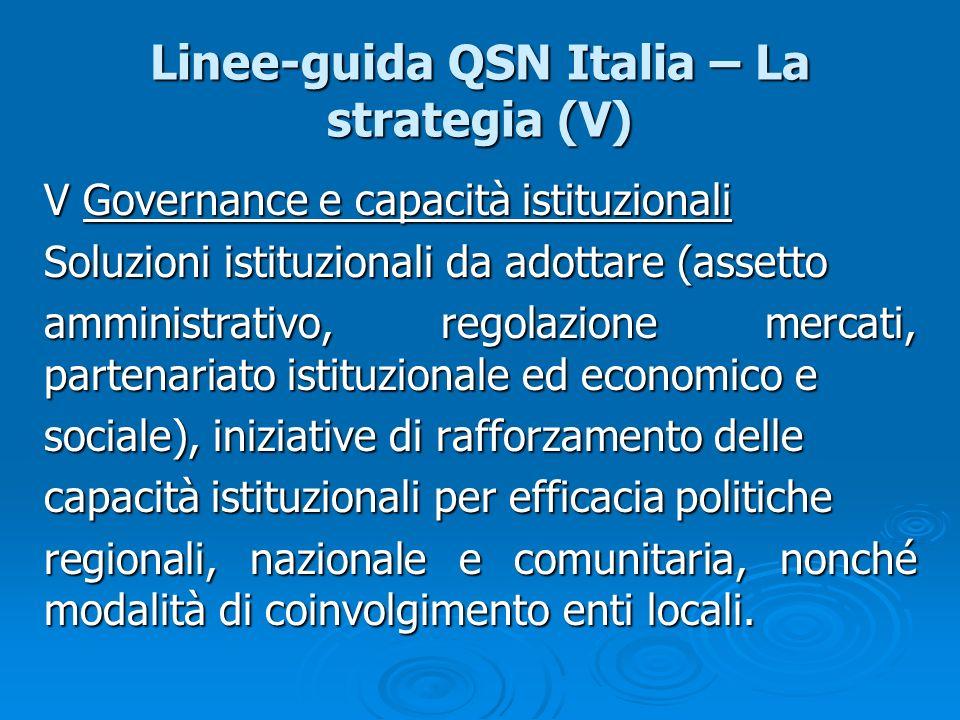 Linee-guida QSN Italia – La strategia (V) V Governance e capacità istituzionali Soluzioni istituzionali da adottare (assetto amministrativo, regolazio