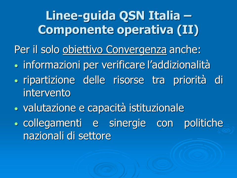 Linee-guida QSN Italia – Componente operativa (II) Per il solo obiettivo Convergenza anche: informazioni per verificare laddizionalità informazioni pe